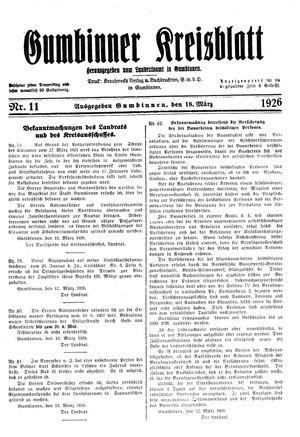 Gumbinner Kreisblatt on Mar 18, 1926
