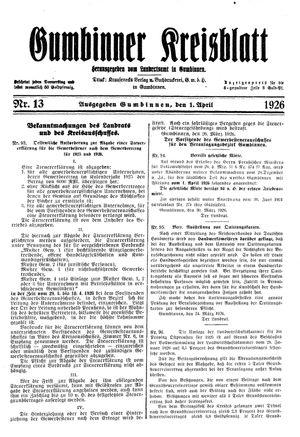 Gumbinner Kreisblatt vom 01.04.1926