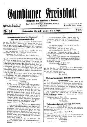 Gumbinner Kreisblatt vom 08.04.1926