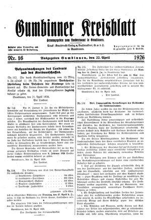 Gumbinner Kreisblatt vom 22.04.1926
