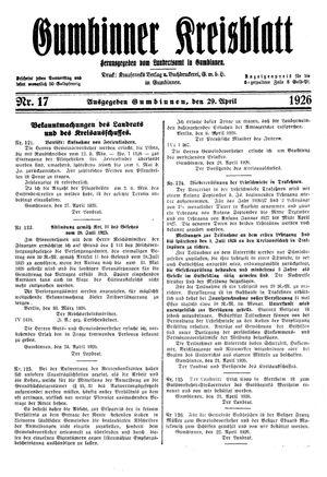 Gumbinner Kreisblatt vom 29.04.1926