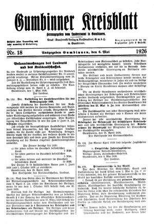 Gumbinner Kreisblatt vom 06.05.1926
