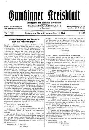 Gumbinner Kreisblatt vom 12.05.1926