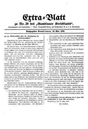 Gumbinner Kreisblatt vom 26.05.1926