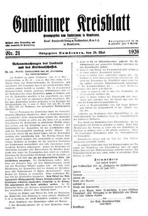 Gumbinner Kreisblatt vom 28.05.1926