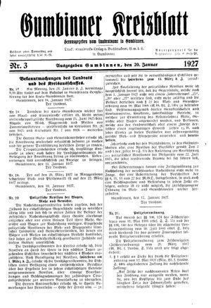 Gumbinner Kreisblatt vom 20.01.1927