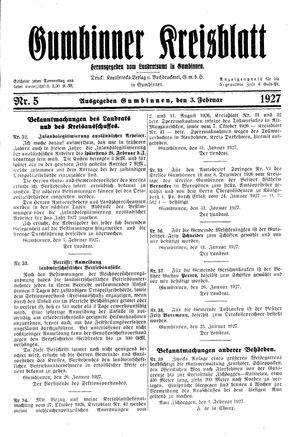 Gumbinner Kreisblatt vom 03.02.1927