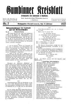 Gumbinner Kreisblatt vom 17.02.1927