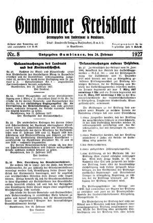 Gumbinner Kreisblatt vom 24.02.1927