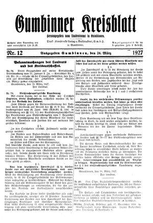 Gumbinner Kreisblatt vom 24.03.1927