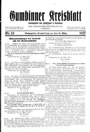 Gumbinner Kreisblatt vom 31.03.1927