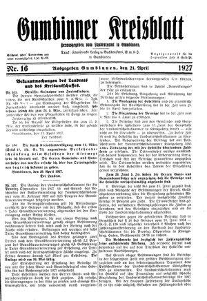 Gumbinner Kreisblatt vom 21.04.1927