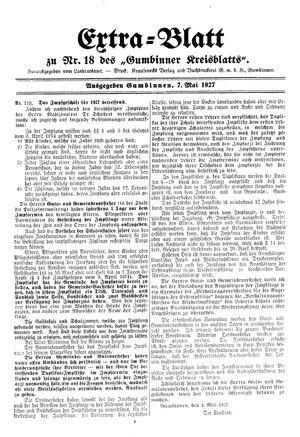 Gumbinner Kreisblatt vom 07.05.1927
