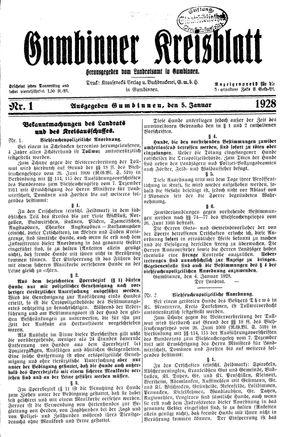 Gumbinner Kreisblatt vom 05.01.1928