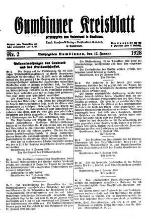 Gumbinner Kreisblatt on Jan 12, 1928