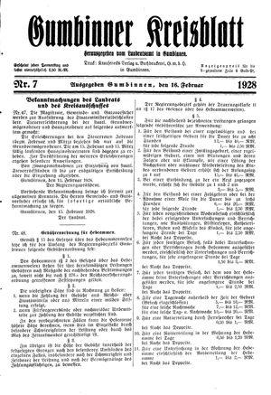 Gumbinner Kreisblatt vom 16.02.1928