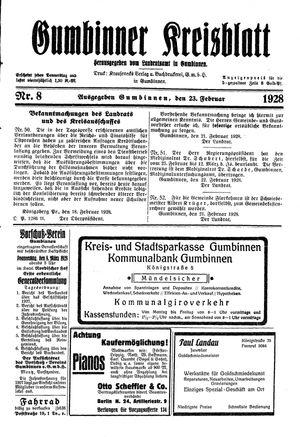 Gumbinner Kreisblatt vom 23.02.1928