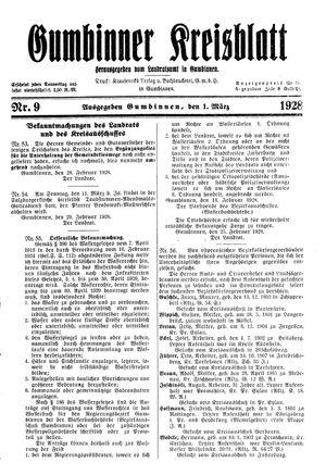 Gumbinner Kreisblatt on Mar 1, 1928