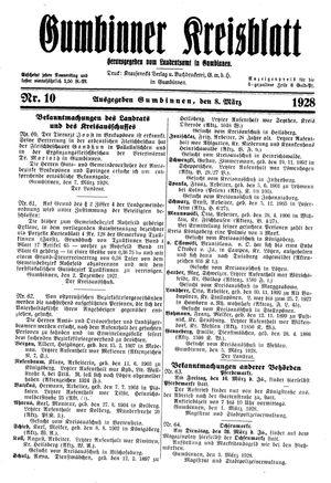 Gumbinner Kreisblatt on Mar 8, 1928
