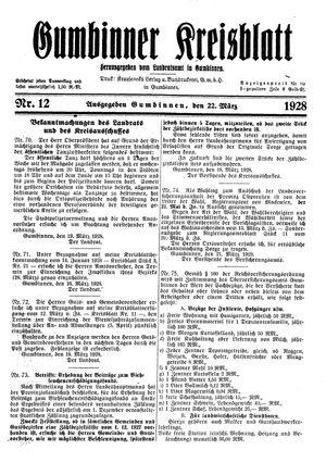 Gumbinner Kreisblatt vom 22.03.1928