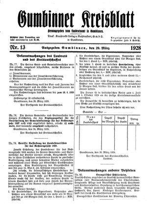 Gumbinner Kreisblatt vom 29.03.1928