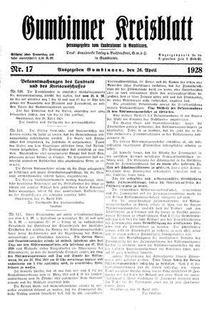 Gumbinner Kreisblatt vom 26.04.1928