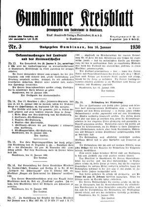 Gumbinner Kreisblatt vom 16.01.1930