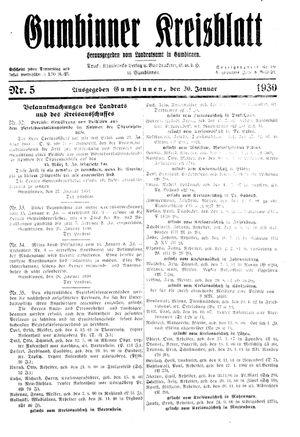 Gumbinner Kreisblatt vom 30.01.1930