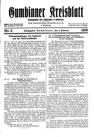 Gumbinner Kreisblatt vom 06.02.1930