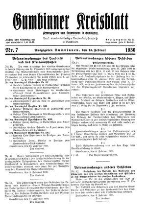 Gumbinner Kreisblatt vom 13.02.1930