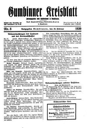 Gumbinner Kreisblatt vom 20.02.1930