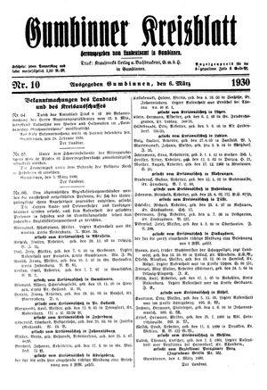 Gumbinner Kreisblatt vom 06.03.1930