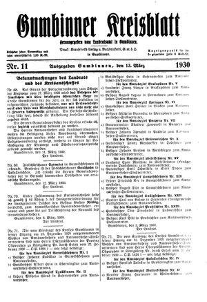 Gumbinner Kreisblatt vom 13.03.1930