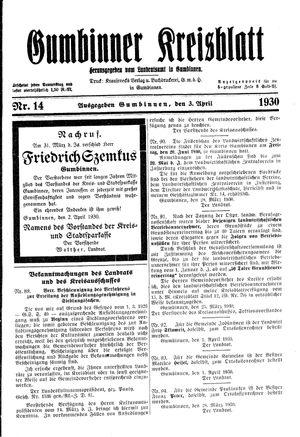 Gumbinner Kreisblatt vom 03.04.1930