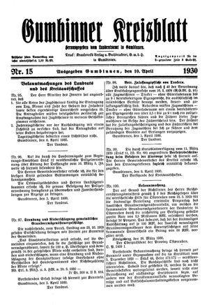Gumbinner Kreisblatt vom 10.04.1930