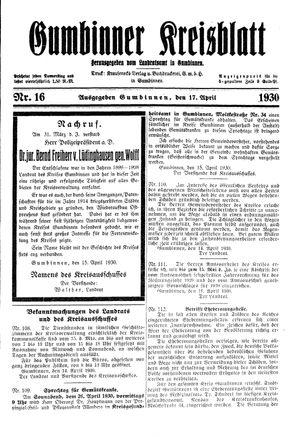 Gumbinner Kreisblatt vom 17.04.1930