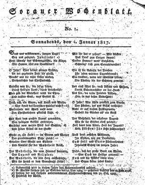 Sorauer Wochenblatt für Unterhaltung, Belehrung und Ereignisse der Gegenwart vom 04.01.1817