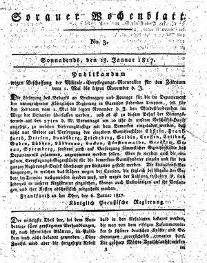 Sorauer Wochenblatt für Unterhaltung, Belehrung und Ereignisse der Gegenwart vom 18.01.1817