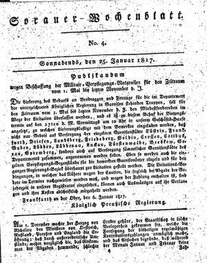 Sorauer Wochenblatt für Unterhaltung, Belehrung und Ereignisse der Gegenwart on Jan 25, 1817