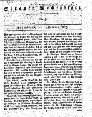Sorauer Wochenblatt für Unterhaltung, Belehrung und Ereignisse der Gegenwart vom 01.02.1817