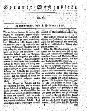 Sorauer Wochenblatt für Unterhaltung, Belehrung und Ereignisse der Gegenwart vom 08.02.1817