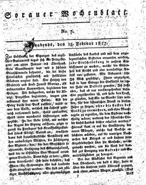 Sorauer Wochenblatt für Unterhaltung, Belehrung und Ereignisse der Gegenwart vom 15.02.1817