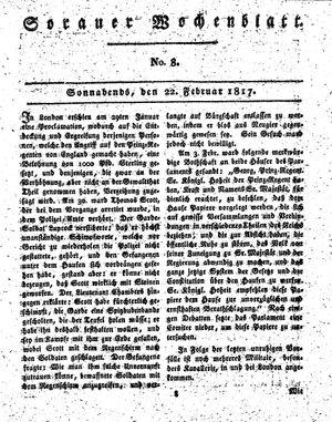 Sorauer Wochenblatt für Unterhaltung, Belehrung und Ereignisse der Gegenwart vom 22.02.1817