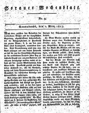 Sorauer Wochenblatt für Unterhaltung, Belehrung und Ereignisse der Gegenwart vom 01.03.1817
