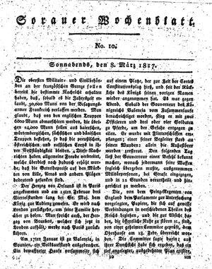 Sorauer Wochenblatt für Unterhaltung, Belehrung und Ereignisse der Gegenwart vom 08.03.1817