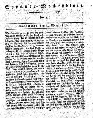 Sorauer Wochenblatt für Unterhaltung, Belehrung und Ereignisse der Gegenwart vom 15.03.1817