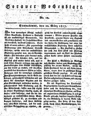 Sorauer Wochenblatt für Unterhaltung, Belehrung und Ereignisse der Gegenwart vom 22.03.1817