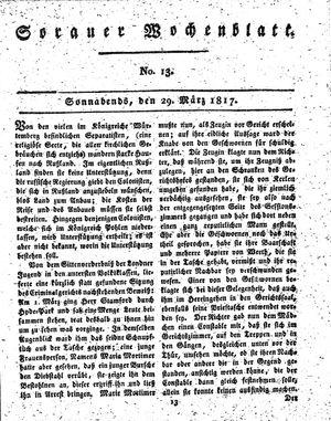 Sorauer Wochenblatt für Unterhaltung, Belehrung und Ereignisse der Gegenwart vom 29.03.1817