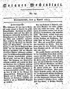 Sorauer Wochenblatt für Unterhaltung, Belehrung und Ereignisse der Gegenwart vom 05.04.1817