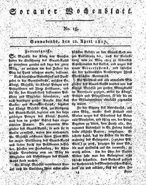 Sorauer Wochenblatt für Unterhaltung, Belehrung und Ereignisse der Gegenwart vom 12.04.1817